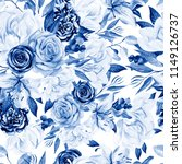watercolor pattern with peony ... | Shutterstock . vector #1149126737