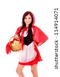 Little Red Riding Hood holding an apple basket - stock photo