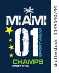 miami champs t shirt design | Shutterstock .eps vector #1149140744