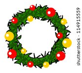 christmas wreath cartoon. | Shutterstock .eps vector #114915559