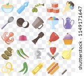 set of 25 icons such as fork ...
