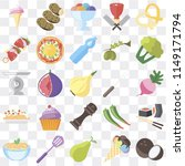 set of 25 icons such as coconut ...