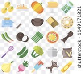 set of 25 icons such as mustard ...