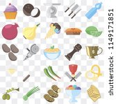 set of 25 icons such as toast ...