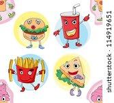 illustration of various food on ... | Shutterstock . vector #114919651