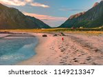 landscape at sunset with beach... | Shutterstock . vector #1149213347