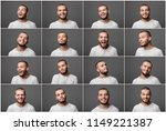 set of portraits of a young man ... | Shutterstock . vector #1149221387