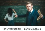 young professor pointing at the ... | Shutterstock . vector #1149232631