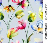 seamless wallpaper with tulips... | Shutterstock . vector #1149259544