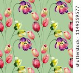 seamless wallpaper with tulips... | Shutterstock . vector #1149259577