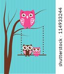 owls family  mother and two... | Shutterstock .eps vector #114933244