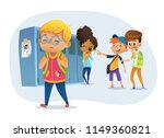sad owerweight boy wearing... | Shutterstock .eps vector #1149360821