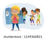 sad owerweight boy wearing... | Shutterstock .eps vector #1149360821