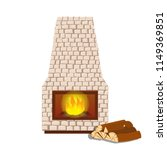 fireplace and wood isolated on...   Shutterstock .eps vector #1149369851