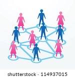 man and woman paper cutout people sihouettes, with connections with everyone. - stock vector