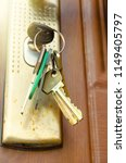 old key in door keyhole | Shutterstock . vector #1149405797