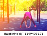 bend forward with wide stand...   Shutterstock . vector #1149409121