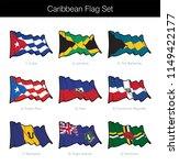 caribbean waving flag set. the... | Shutterstock .eps vector #1149422177