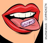 oral pill on a woman tongue.... | Shutterstock .eps vector #1149424274