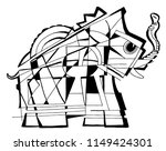 elephant coloring page abstract | Shutterstock .eps vector #1149424301