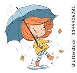 girl with an umbrella. autumn  | Shutterstock .eps vector #1149426281