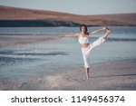 young girl doing yoga in the... | Shutterstock . vector #1149456374