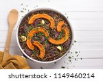 baked pumpkin lentils with red...