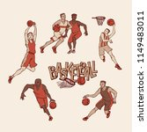retro basketball players in... | Shutterstock .eps vector #1149483011
