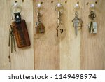house key with wooden home... | Shutterstock . vector #1149498974