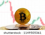 bitcoin btc on stack of... | Shutterstock . vector #1149505361