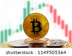 bitcoin btc on stack of... | Shutterstock . vector #1149505364