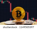 bitcoin btc on stack of... | Shutterstock . vector #1149505397
