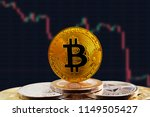 bitcoin btc on stack of... | Shutterstock . vector #1149505427