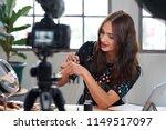 beauty influencer recording... | Shutterstock . vector #1149517097