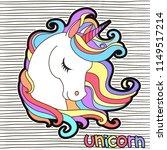 cute white unicorn with rainbow ... | Shutterstock .eps vector #1149517214