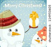 christmas card   two snowmen on ... | Shutterstock .eps vector #114953605
