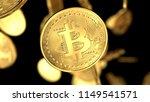 golden cash bitcoin on black...   Shutterstock . vector #1149541571
