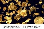 golden cash bitcoin on black...   Shutterstock . vector #1149541574