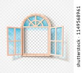 open window isolated. wooden... | Shutterstock .eps vector #1149568961
