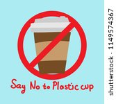 say no to plastic cup. flat... | Shutterstock .eps vector #1149574367