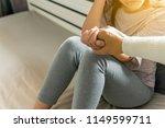 man giving hand to depressed... | Shutterstock . vector #1149599711