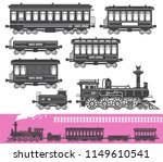 vintage retro train set with... | Shutterstock .eps vector #1149610541