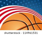 Basketball with improvised US flag behind