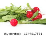 ripe red radish with leaves.... | Shutterstock . vector #1149617591
