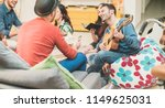 trendy friends having fun in... | Shutterstock . vector #1149625031