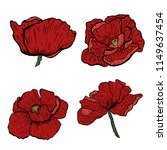 poppy flowers hand drawn. can... | Shutterstock .eps vector #1149637454