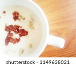 cream of mushrooms on plate on... | Shutterstock . vector #1149638021
