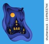 paper art halloween night...   Shutterstock .eps vector #1149653744