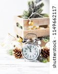 christmas card with clock and...   Shutterstock . vector #1149662117
