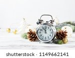 christmas card with clock and...   Shutterstock . vector #1149662141